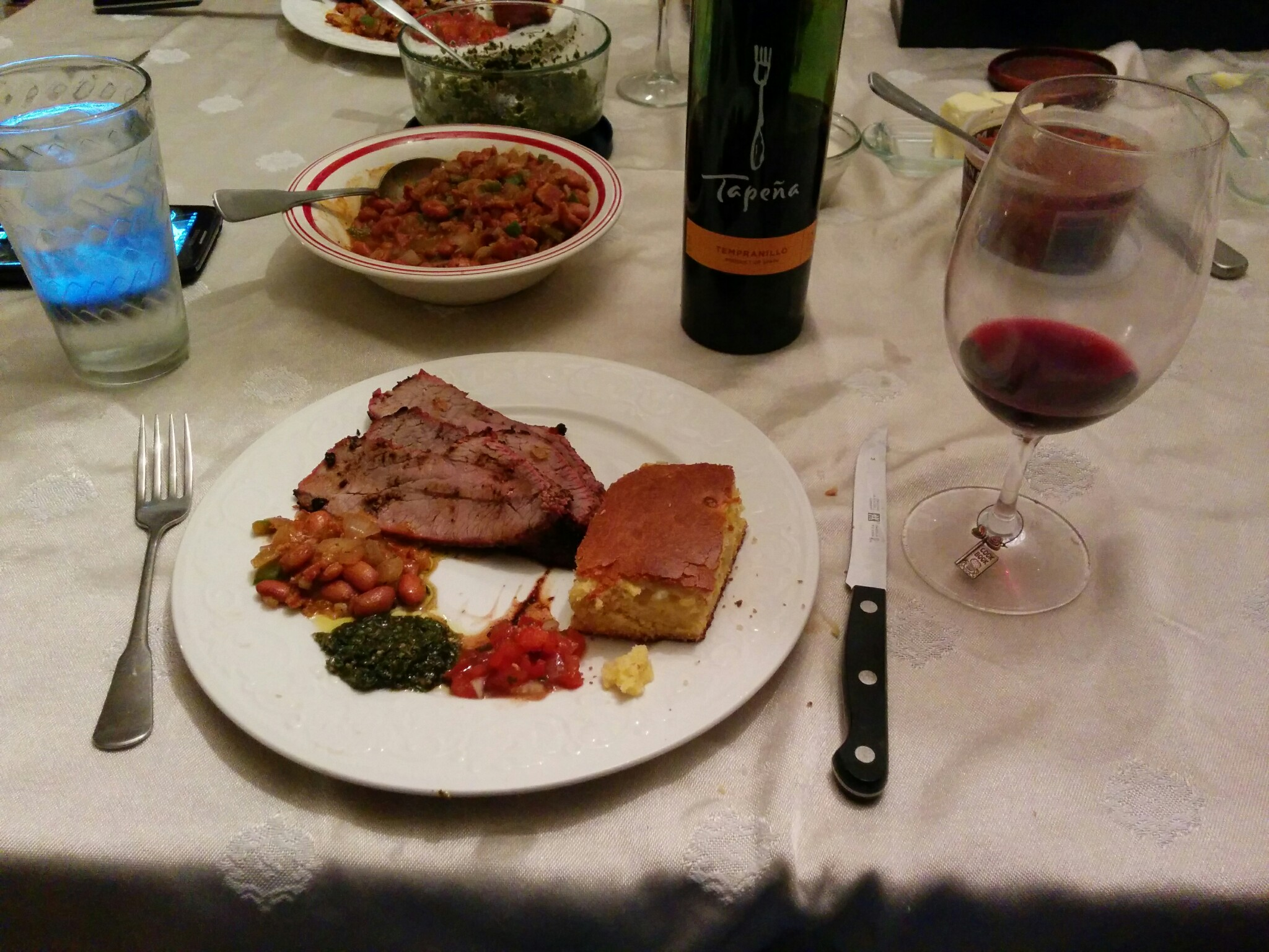 Santa Maria style tri-tip with salsas and corn bread