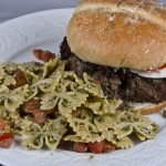 Pesto-Tomato Salad and a Caprese Burger