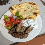 Kofta Kebabs with roasted vegetables and naan