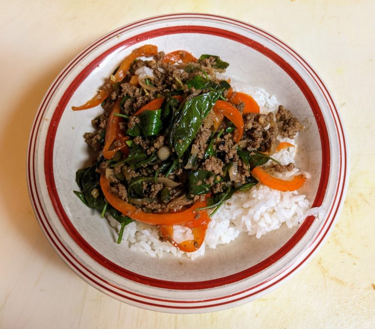 Bowl of Thai beef and basil on rice